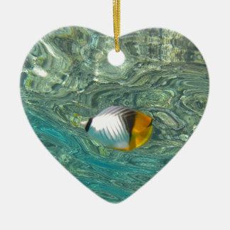 Threadfin Butterflyfish Ceramic Ornament