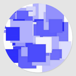 Threadless blue square classic round sticker