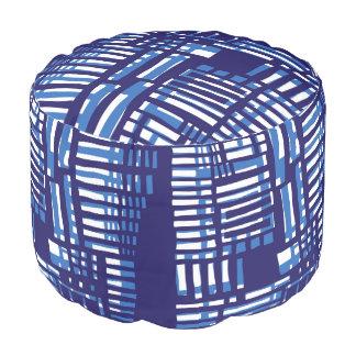 Threads 2 (Blue Geometric Pattern) by KCS Round Pouf