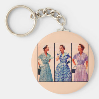 three 1953 dresses - vintage clothing basic round button keychain
