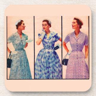 three 1953 dresses - vintage clothing coaster