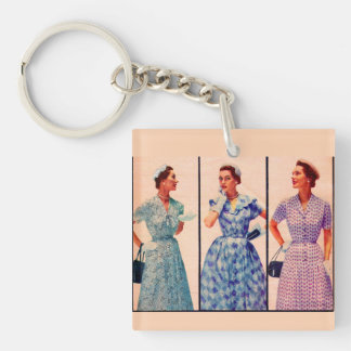 three 1953 dresses - vintage clothing Double-Sided square acrylic keychain