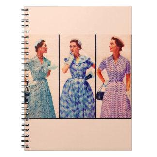 three 1953 dresses - vintage clothing spiral notebook