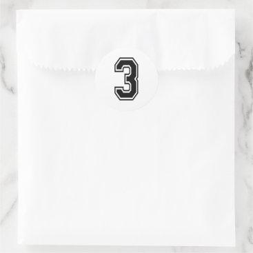 Three 3 Black Sports Font Classic Round Sticker