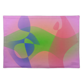 Three Abstract Objects on a Lavender Background Cloth Placemat