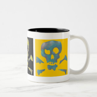 Three Abstract Pop Art Skulls Two-Tone Coffee Mug