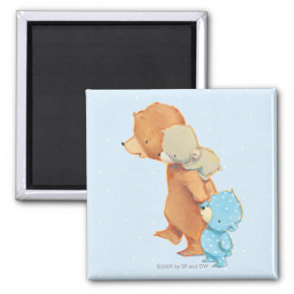Three Adorable Bear Friends 2 Inch Square Magnet