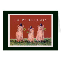 Three Adorable Pigs Wishing You Happy Holidays Card