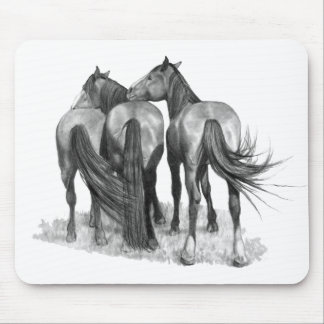 Three Affectionate Horses: Original Pencil Drawing Mousepad