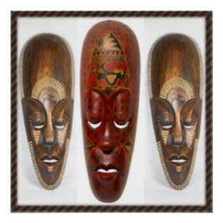Three African Mask Poster