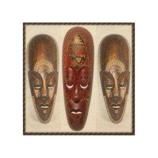 Three African Mask Wood Print