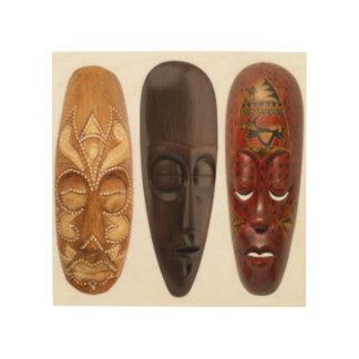 Three African Mask Wood Wall Decor