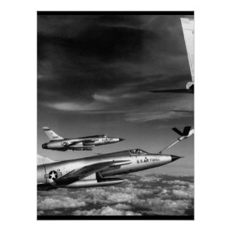 Three Air Force F-105 Thunderchief pilots enroute Poster