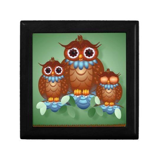 Three Alert Little Owls  Gift Boxes
