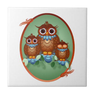 Three Alert Little Owls Oval Tile-Trivet Tile