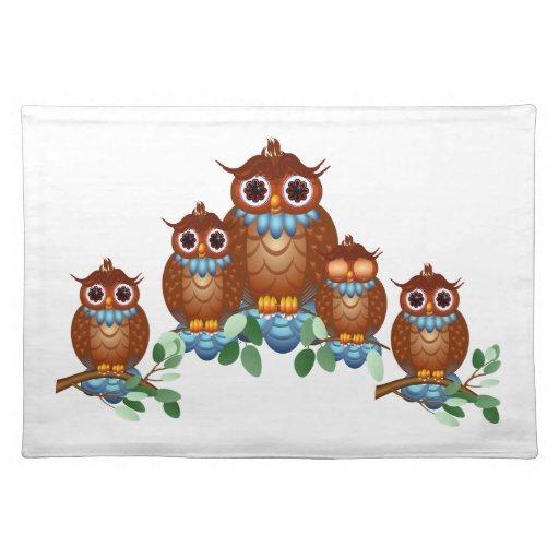 Three Alert Little Owls Place Mat Cloth Place Mat