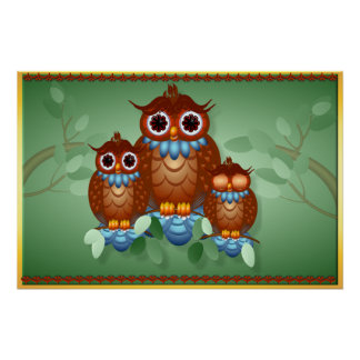 Three Alert Little Owls Posters
