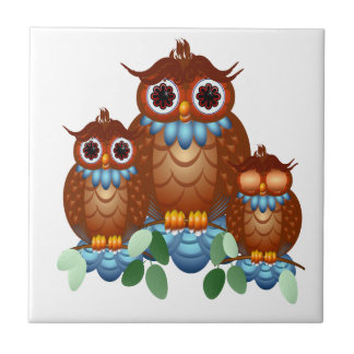 Three Alert Little Owls Tile-Trivet Ceramic Tile