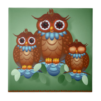 Three Alert Little Owls Tiles-Trivets Ceramic Tile