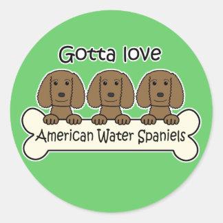 Three American Water Spaniels Round Sticker
