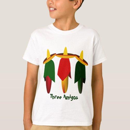 Three Amigo Hot Peppers Kids T_shirt