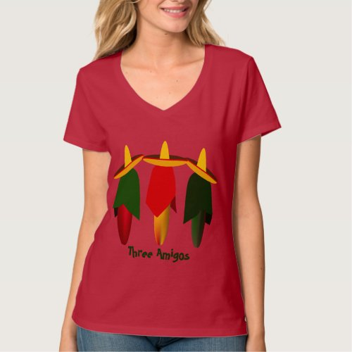 Three Amigo Hot Peppers Ladies Red T_shirt