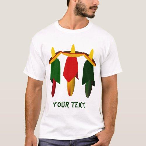 Three Amigo Hot Peppers Mens White T_shirt