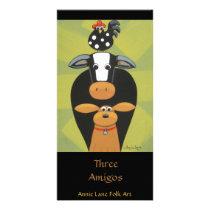 """Three Amigos"" Whimsical Cow Dog Rooster Art Card"
