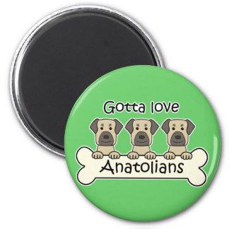 Three Anatolian Shepherds 2 Inch Round Magnet