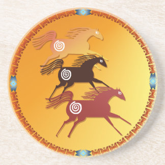 Three Ancient Horses  Coaster