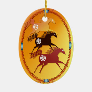 Three Ancient Horses-oval ornament