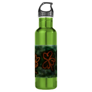 Three and Four-Leaf Clover Water Bottle (24 oz) 24oz Water Bottle