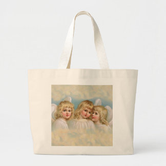 Three Angels in a Pastel Sky Large Tote Bag