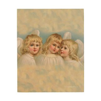 Three Angels in a Pastel Sky Wood Wall Decor