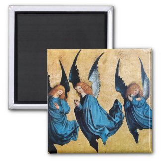 THREE ANGELS IN BLUE 2 INCH SQUARE MAGNET