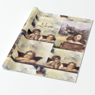 THREE ANGELS IN BLUE  CHRISTMAS JOY PEACE LOVE WRAPPING PAPER