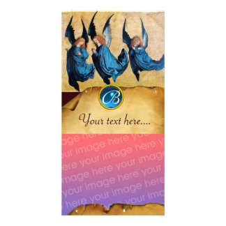 THREE ANGELS IN BLUE  PARCHMENT Sapphire Monogram Card