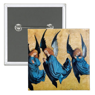 THREE ANGELS IN BLUE PINBACK BUTTON