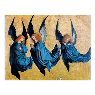 THREE ANGELS IN BLUE POSTCARD