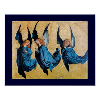 THREE ANGELS IN BLUE PRINT