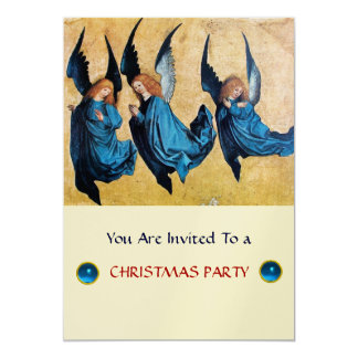 THREE ANGELS IN BLUE ,Sapphire,gold metallic Card
