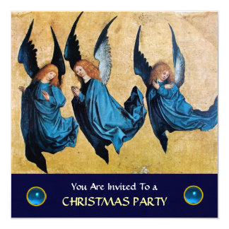 THREE ANGELS IN BLUE ,Sapphire ,linen Card