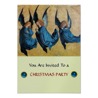 THREE ANGELS IN BLUE ,Sapphire,silver metallic Card