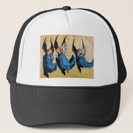 THREE ANGELS IN BLUE TRUCKER HAT