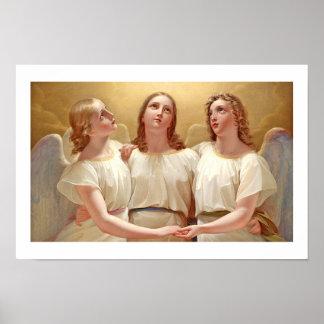 Three Angels Painting. Small Vintage Art Print