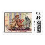 Three Anthropomorphic Cats Postage Stamps