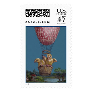Three Anthropomorphic Easter Chicks in Balloon Postage