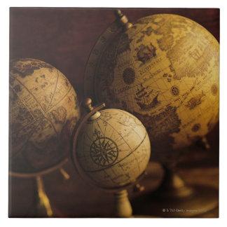 Three antique globes ceramic tile