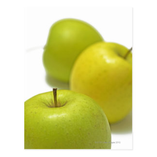 Three apples, close-up postcard