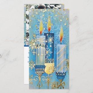 Three Aqua Christmas Candles Holiday Card